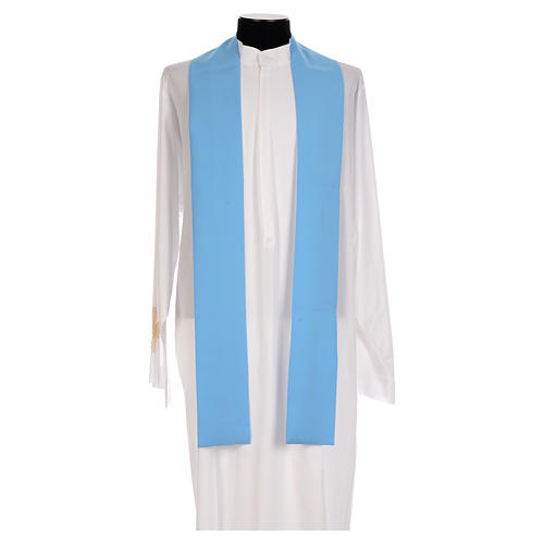 Blue chasuble in shiny polyester with Chi-Rho 5