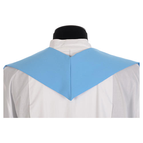 Blue chasuble in shiny polyester with Chi-Rho 6