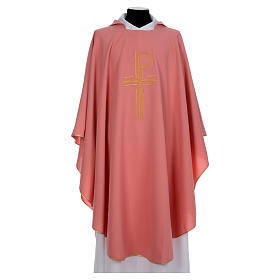 Pink Catholic Chasuble with Chi-Rho in shiny polyester s1