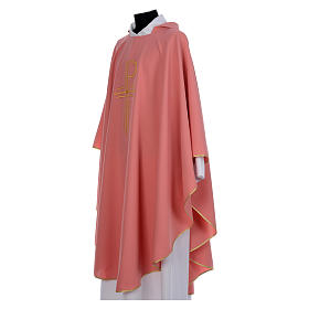 Pink Catholic Chasuble with Chi-Rho in shiny polyester s2