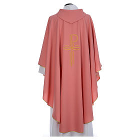 Pink Catholic Chasuble with Chi-Rho in shiny polyester s3