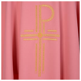 Pink Catholic Chasuble with Chi-Rho in shiny polyester s4