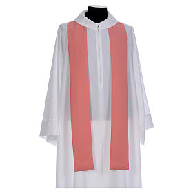 Pink Catholic Chasuble with Chi-Rho in shiny polyester s5