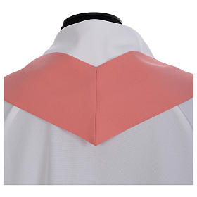 Pink Catholic Chasuble with Chi-Rho in shiny polyester s6