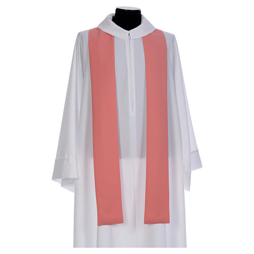 Pink Catholic Chasuble with Chi-Rho in shiny polyester 5