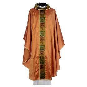 Casula sacerdotale seta color oro 100% ricamo quadri s1