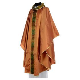 Casula sacerdotale seta color oro 100% ricamo quadri s3