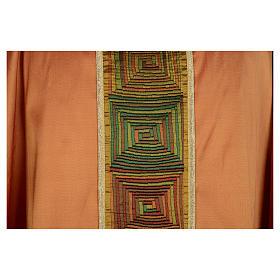 Casula sacerdotale seta color oro 100% ricamo quadri s4