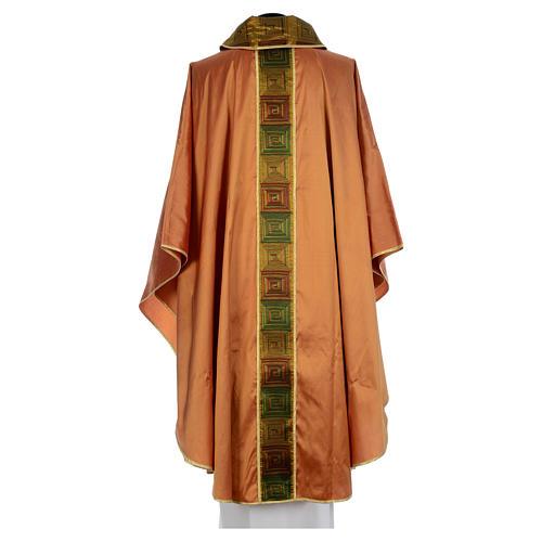 Casula sacerdotale seta color oro 100% ricamo quadri 2