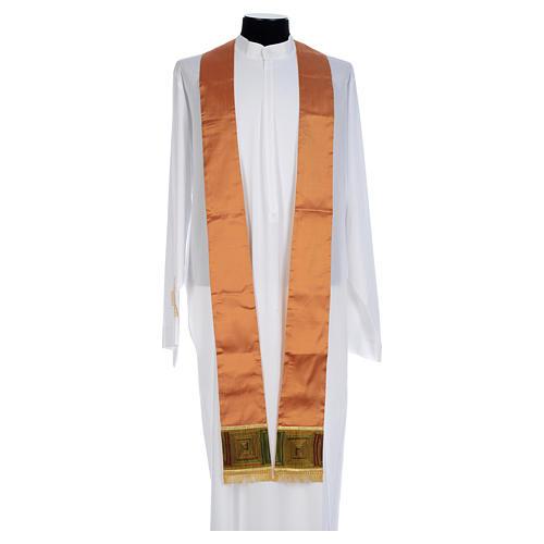 Casula sacerdotale seta color oro 100% ricamo quadri 5
