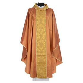 Casula sacerdotale seta oro 100% ricamo dorato s1