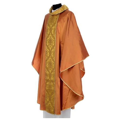 Casula sacerdotale seta oro 100% ricamo dorato 2