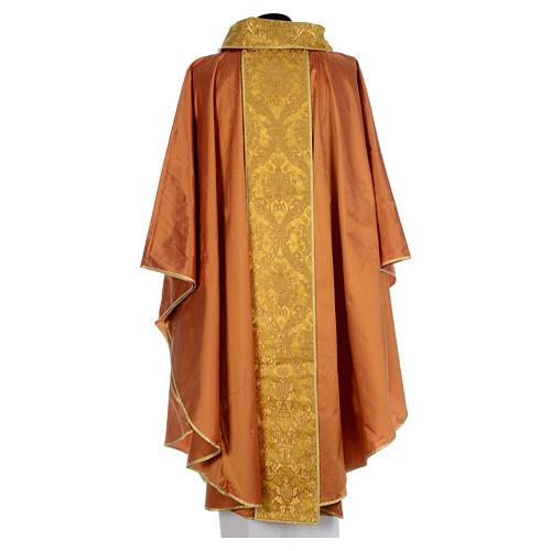 Casula sacerdotale seta oro 100% ricamo dorato 3