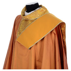 Gold Latin  Chasuble 100% silk brocade orphrey s5