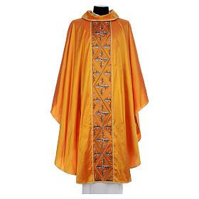 Casula sacerdotale seta oro 100% ricamo croce s1