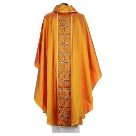 Casula sacerdotale seta oro 100% ricamo croce s3