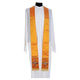 Casula sacerdotale seta oro 100% ricamo croce s6