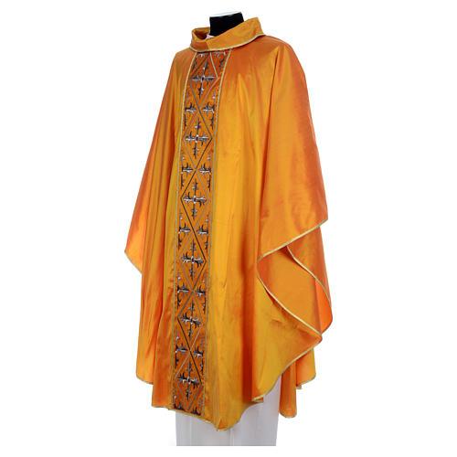 Casula sacerdotale seta oro 100% ricamo croce 2
