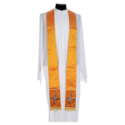 Casula sacerdotale seta oro 100% ricamo croce 6