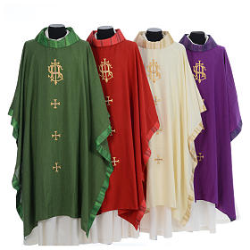 Catholic Priest Chasuble with central IHS and crosses s1