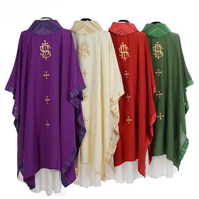 Catholic Priest Chasuble with central IHS and crosses s2