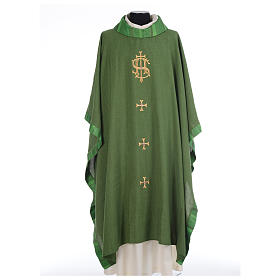 Catholic Priest Chasuble with central IHS and crosses s3