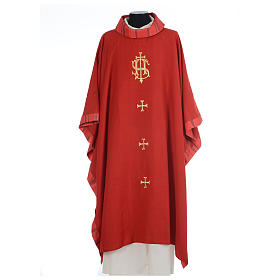 Catholic Priest Chasuble with central IHS and crosses s4