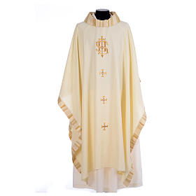 Catholic Priest Chasuble with central IHS and crosses s5
