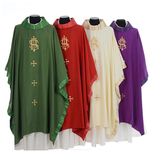 Catholic Priest Chasuble with central IHS and crosses 1