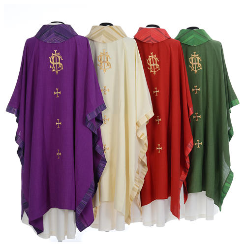 Catholic Priest Chasuble with central IHS and crosses 2