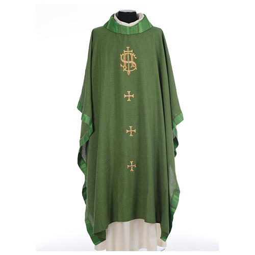 Catholic Priest Chasuble with central IHS and crosses 3