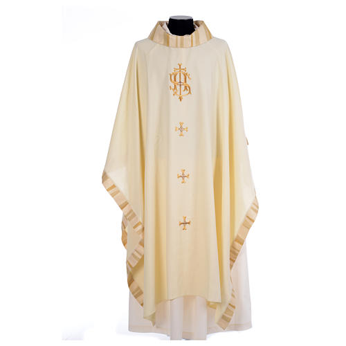 Catholic Priest Chasuble with central IHS and crosses 5