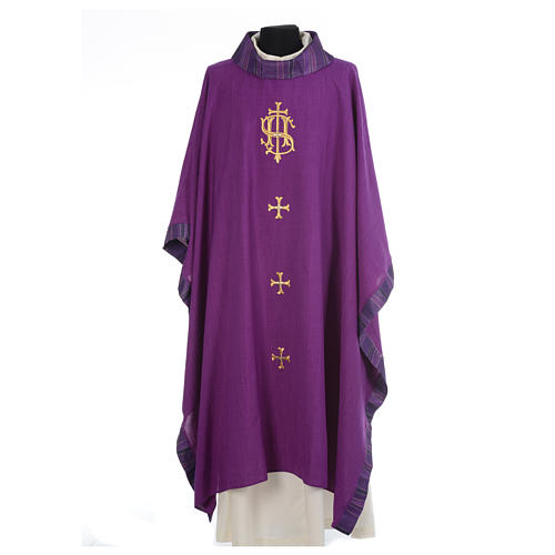 Catholic Priest Chasuble with central IHS and crosses 6