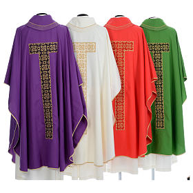 Liturgical chasuble with cross embroidery s2