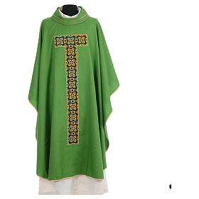 Liturgical chasuble with cross embroidery s3