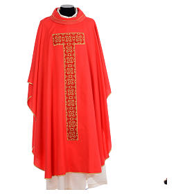 Liturgical chasuble with cross embroidery s4