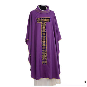 Liturgical chasuble with cross embroidery s6