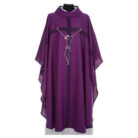 Casula liturgica quaresimale con crocifisso s1