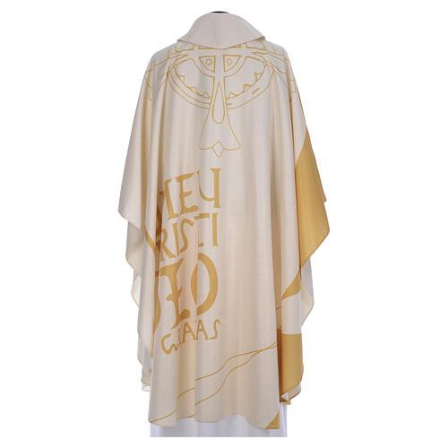 Casulla litúrgica con decoraciones de oro 3