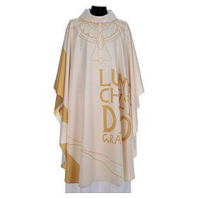 Casula liturgica con decori in oro s1