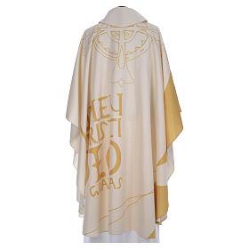 Casula liturgica con decori in oro s3