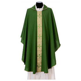 Chasubles: Chasuble in polyester with golden line and cross Vatican fabric