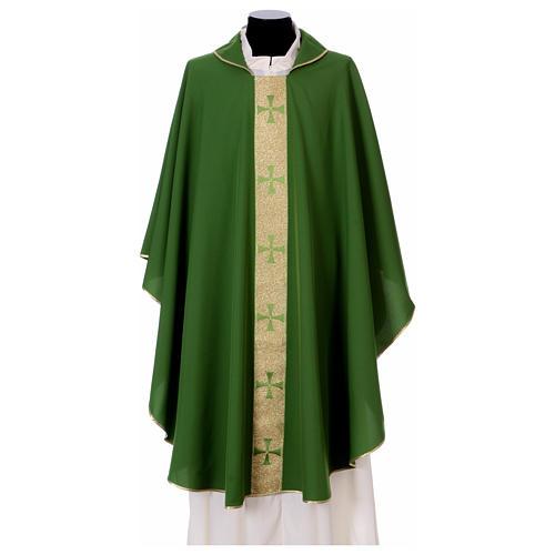 Chasuble gallon croix avant arrière tissu Vatican 100% polyester 1