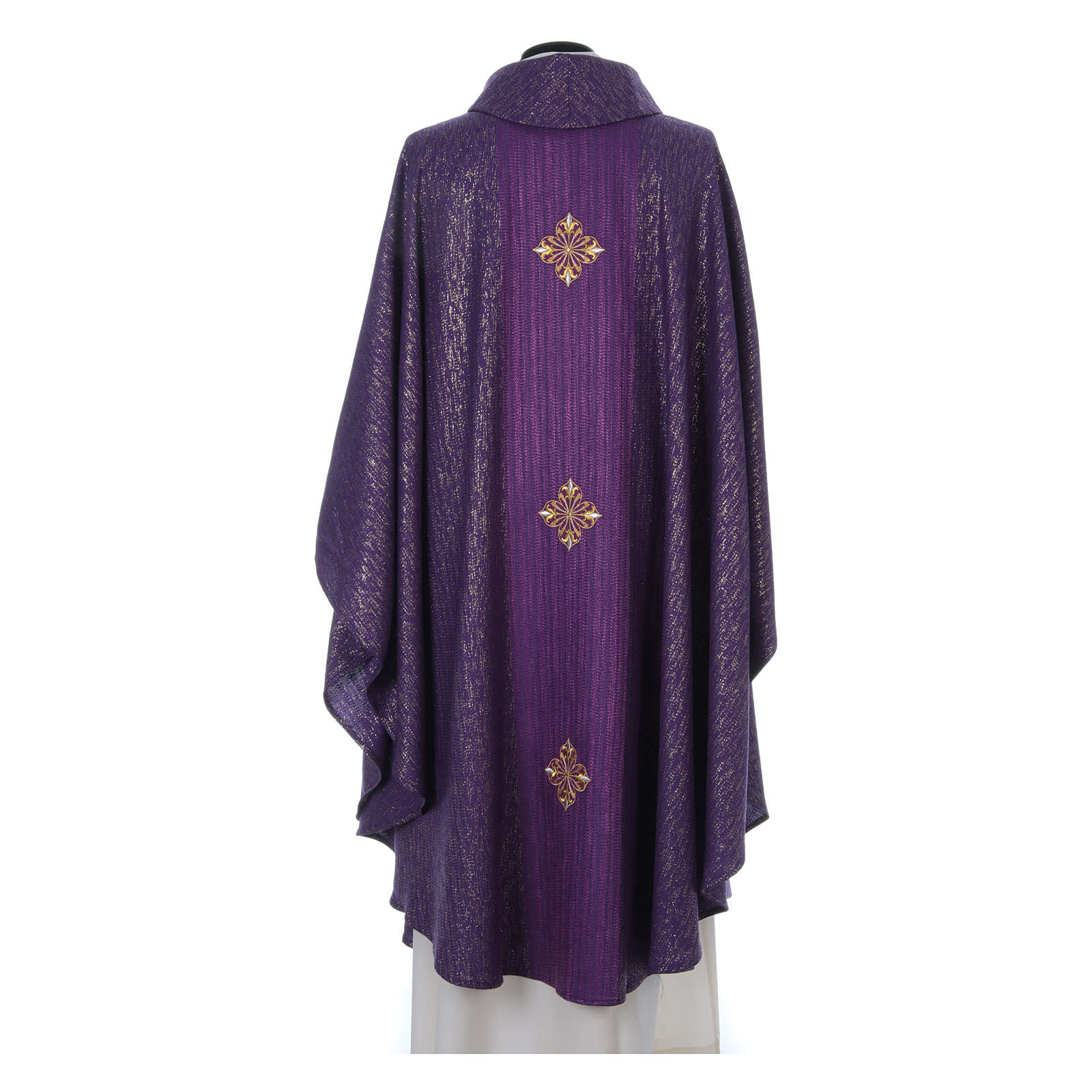 Chasuble 85% wool 15% lurex embroidered with three crosses 4