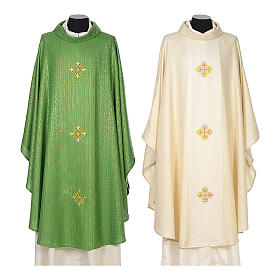 Chasuble 85% wool 15% lurex embroidered with three crosses s1