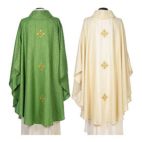 Chasuble 85% wool 15% lurex embroidered with three crosses s2