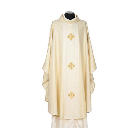 Chasuble 85% wool 15% lurex embroidered with three crosses s4