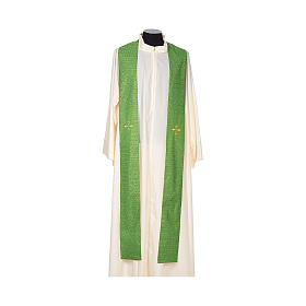 Chasuble 85% wool 15% lurex embroidered with three crosses s5