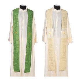 Chasuble 85% wool 15% lurex embroidered with three crosses s7