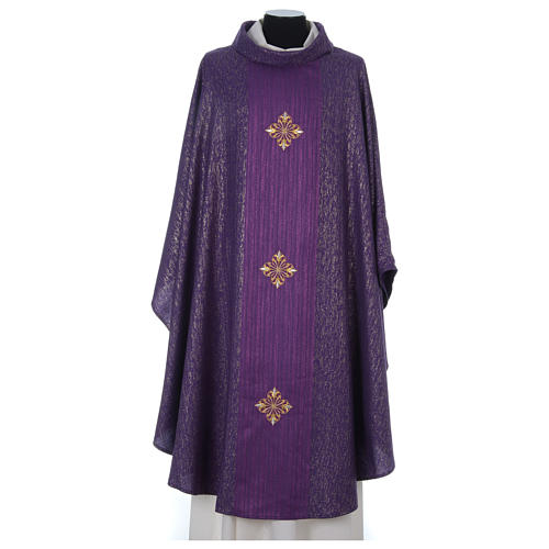 Chasuble 85% wool 15% lurex embroidered with three crosses 8
